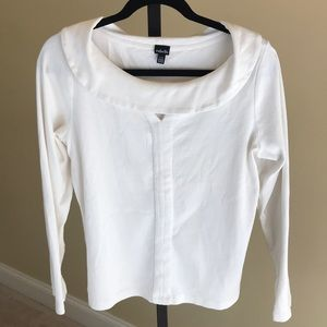 Rafaella Women's White Long Sleeve Shirt. Size L